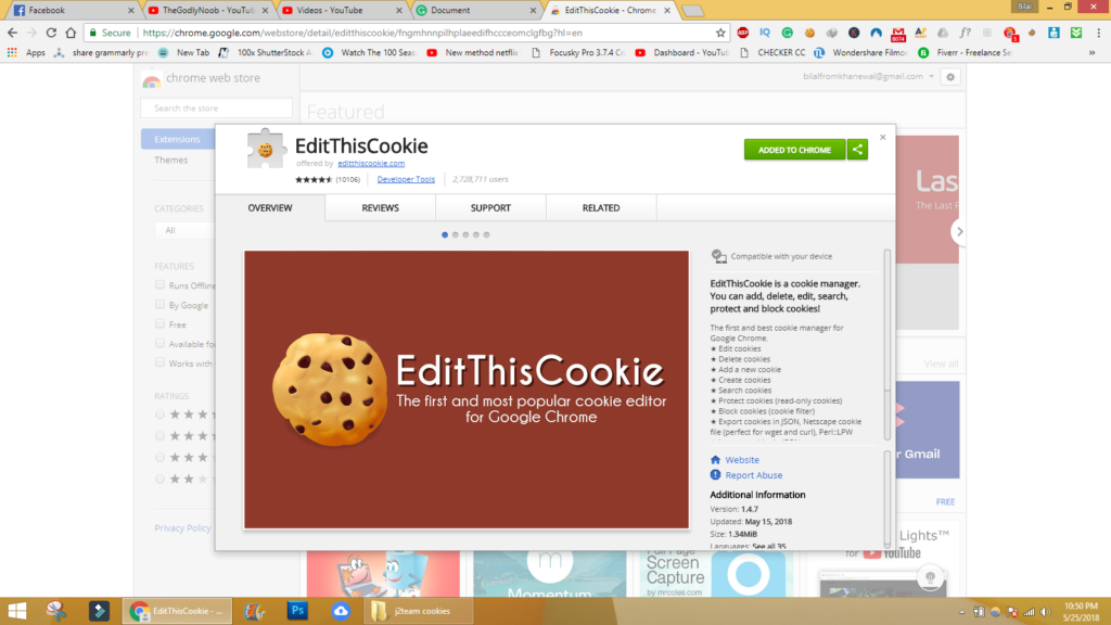 How to add Editthiscookie Extention grammarly